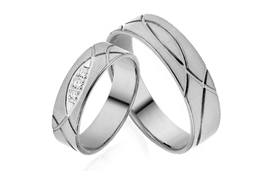 Wedding bands with cubic zirconia width 5mm - IZOB521A