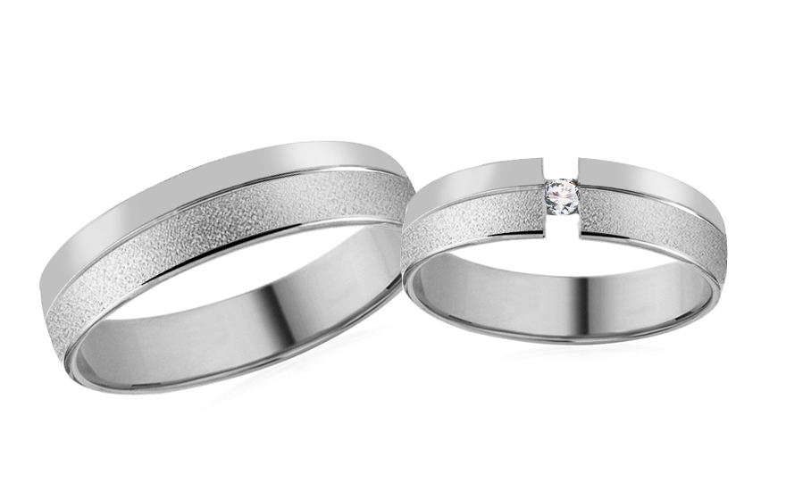 Wedding rings in white gold with stones - RYOB064