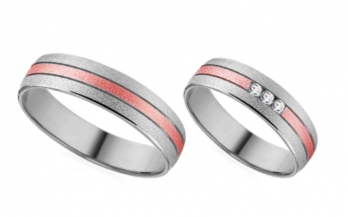 Wedding rings in white and rose gold with zircons - RYOB187