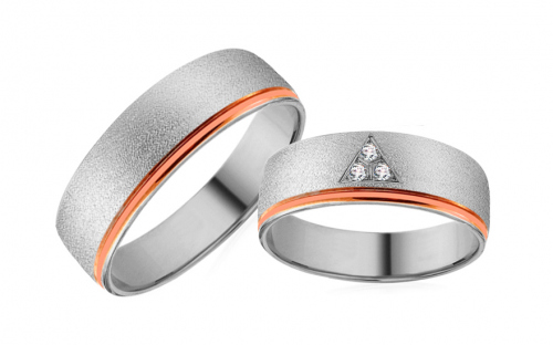 Wedding rings in white and rose gold with zircons - RYOB100