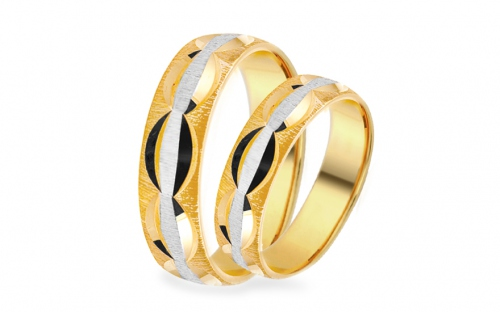 Wedding rings matt with engraved pattern width 5 mm - IZOB462