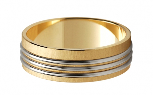 Wedding rings two-toned striped width 6 mm - STOB113