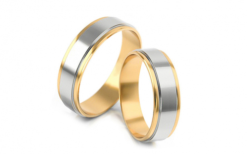 Wedding rings two-color width 4.3 to 6 mm - STOB047V