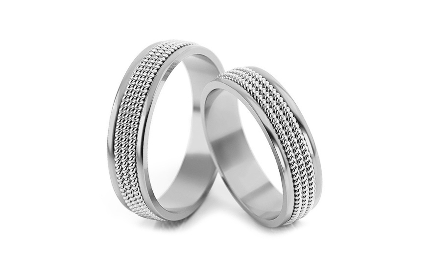 Wedding rings two-tone width 4 to 5 mm - STOB067VA