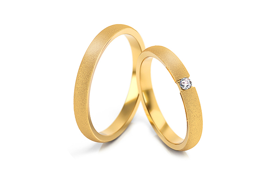 Wedding rings with stones width 3 mm - STOB260
