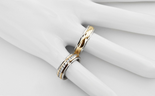 Wedding bands with cubic zirconia width 6mm - STOB083
