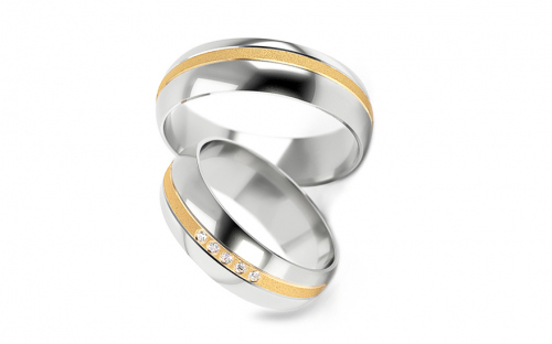 Wedding rings two tone with stones width 5 to 7 mm - STOB256V