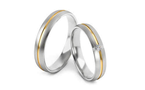 Wedding rings two-tone with zircons width 4 to 6 mm - STOB267V