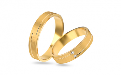 Wedding rings with zircons width 4 to 5 mm - STOB210V - on a mannequin