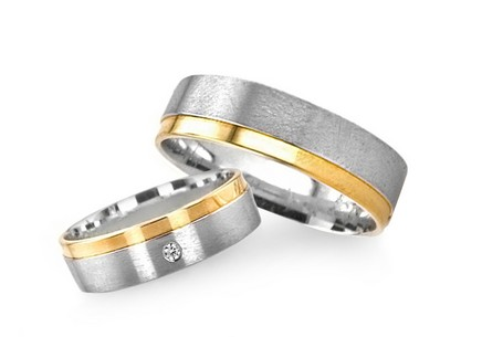 5mm/0.20'' Yellow and White Gold Wedding Bands