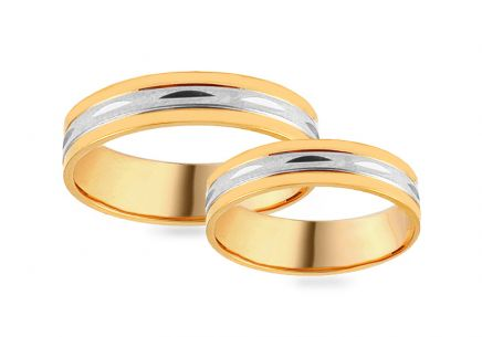 Gold combined engraved wedding rings,  width 4 mm