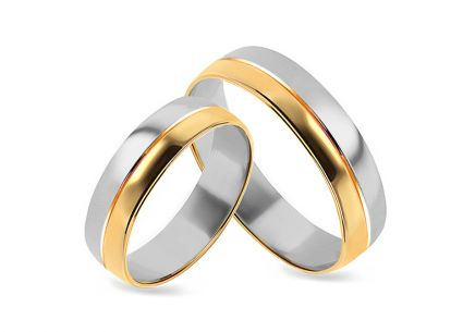 Gold combined wedding rings, width 4 to 9 mm