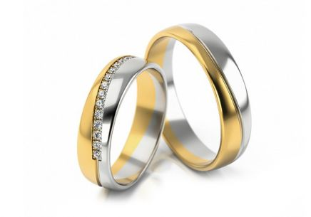 Gold combined wedding rings with zircons, width 4.5 mm