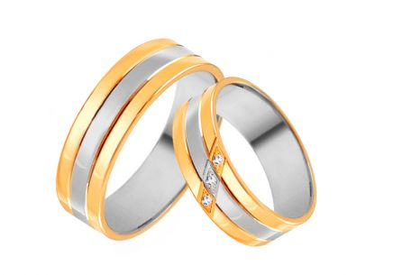 Gold combined wedding rings with zircons, width 4 to 8 mm