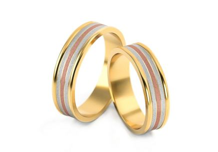 Tri color Wedding rings width 5.2 to 6.2 mm