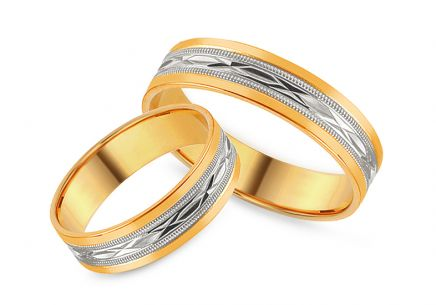 Two tone Wedding rings with engraved pattern, width 5 mm