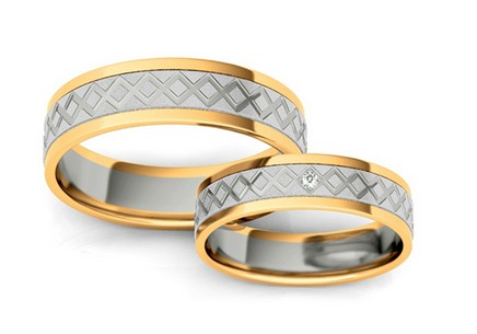 Wedding rings engraved with zircon width 5 mm