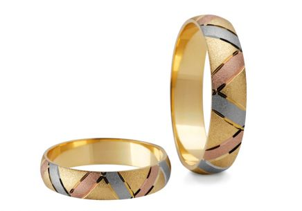 Wedding rings three-tone width 5 to 7 mm