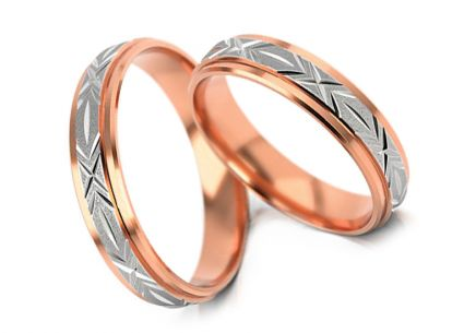 Two tone wedding rings engraved width 4.3 to 5 mm