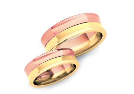 Wedding rings gold  two-tone width 4 to 8 mm