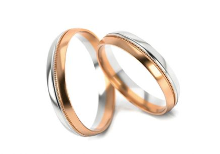 Wedding rings gold  two-tone width 3 to 5 mm