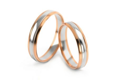 Wedding rings two tone width 4 to 6 mm