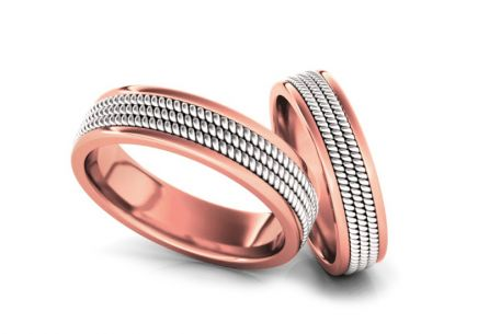 Wedding rings two-tone width 4 to 5 mm