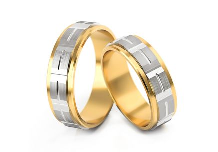Wedding rings two tone width 5 to 7 mm