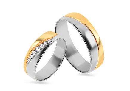 Wedding rings two-tone with zircons, width 4 to 8 mm