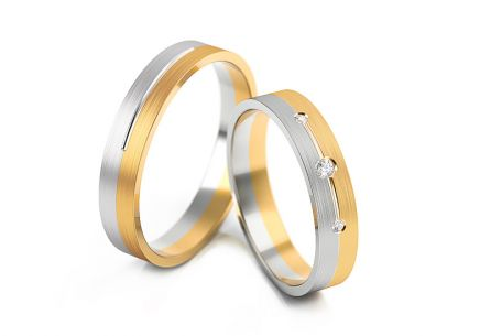 Wedding rings two-tone with zircons width 4 to 6 mm