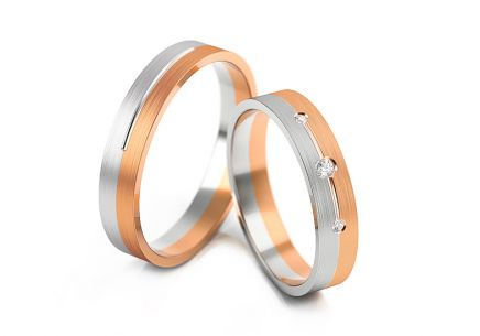Wedding rings two-tone with zircons width 4 to 8 mm