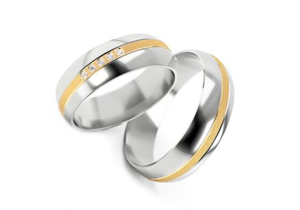 Wedding rings two tone with stones width 5 to 7 mm