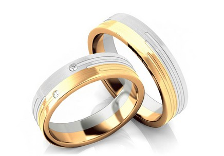 Wedding rings two-tone with zircons width 5 mm