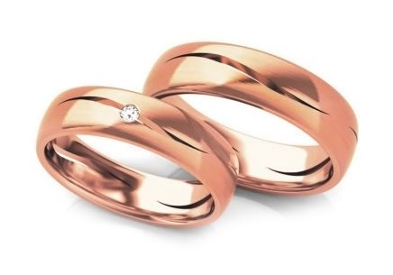 Wedding rings gold with zircons width 5 to 6 mm