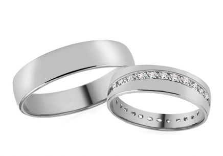 Wedding rings with zircons 5 mm