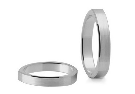 Matted gold wedding rings, width 3.6 mm