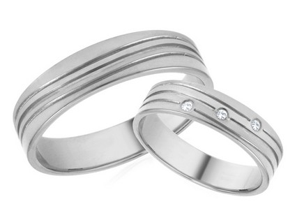Wedding Bands White Gold with Zircons width 5mm