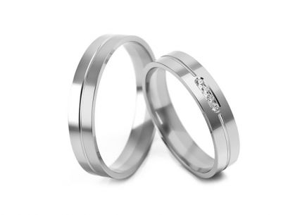Wedding Bands with Zircons width 4-6 mm