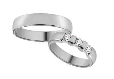 Wedding rings white gold width 4 mm