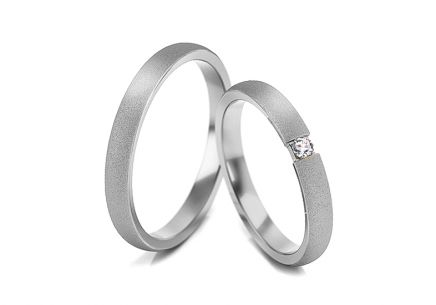 Wedding rings with zircons width 3 to 5 mm