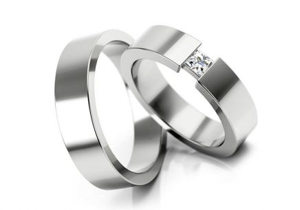 Wedding rings with stones width 4 to 6 mm