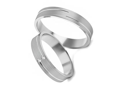 Wedding rings with zircons width 4 to 5 mm