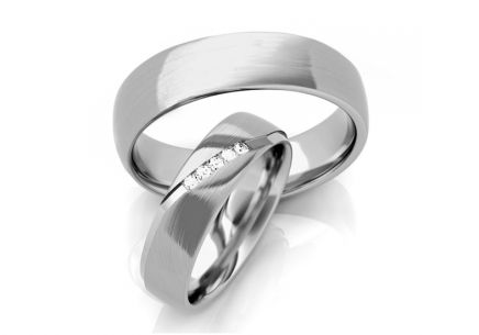 Wedding rings with zircons width 5 to 6 mm