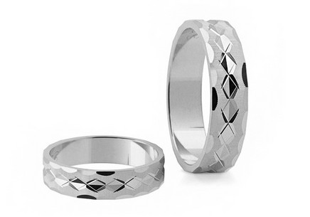 White Gold Wedding Bands Engraved width 4 mm