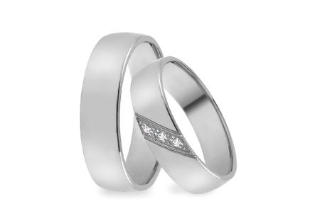 White gold wedding rings with zircons, width 4 to 8 mm