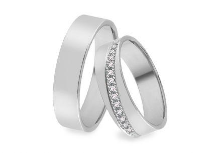 White gold wedding rings with zircons, width 4 to 9 mm