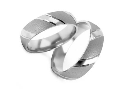 White gold matt wedding rings width 4 to 6 mm