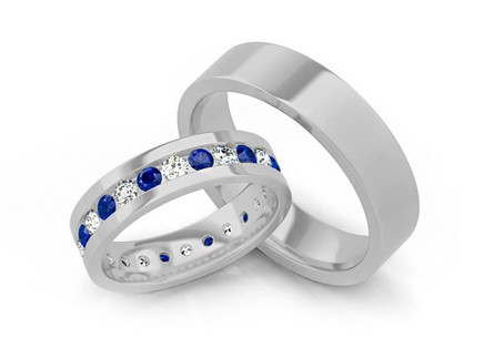 Luxury wedding rings with blue diamonds 1,200 ct Bianco blue