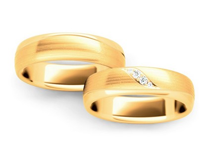Wedding rings with diamonds 0.060 ct width 5 mm
