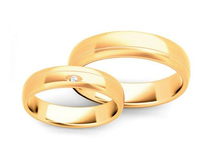 Wedding rings with diamond 0,015 ct width 4,5 mm